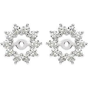 IceCarats Designer Jewelry 14K White Gold 5/8 Ctw Diamond Earring Jacket. Pair 5/8 Cttw