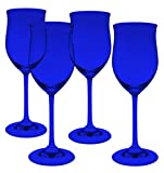 Marquis by Waterford Young Crystal White Set of 4 Wine Glasses - Full Color Cobalt Blue - Additional Vibrant Colors Available by TableTop King