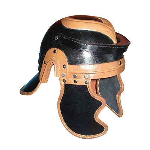 Armor Venue: Leather Roman Trooper Helmet Head Armour Black/Brown One Size