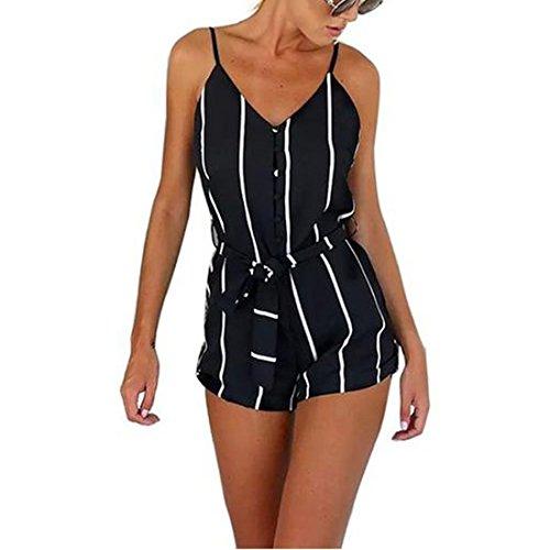 JXLOULAN Donna Backless nero a strisce & White Estate Salopette corte di moda le bretelle (Petite Denim A-gonna)