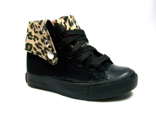 New Toddler Girls Black & Leopard Print High Top Sneaker Boots shoes Lace up Ankle or Calf High Style,