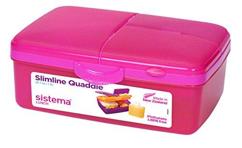 Sistema Slimline Quaddie Lunchbox, pink