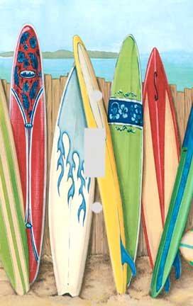 Surfboards on the Beach Decorative Switchplate Cover
