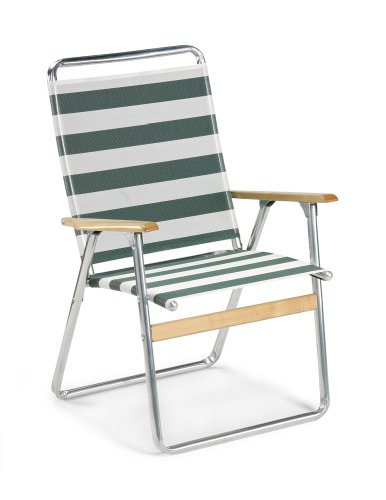 Telescope Casual Original Highback Folding Beach Arm Chair, Cabana Green/White