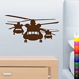 "StikEez Brown 20"" Chinook Helicopter Squadron Military Wall Decal"