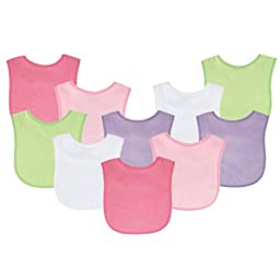 Luvable Friends 10-Pack Baby Bibs, Value Pack!, Pink & Green Colors
