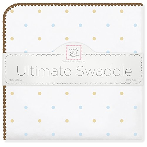 SwaddleDesigns Ultimate Receiving Blanket, Gold Little Dots with Mocha Trim, Pastel Blue