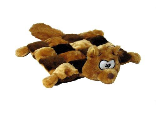 Kyjen Plush Puppies Dog Squeaker Mat Toy Squirrel Large