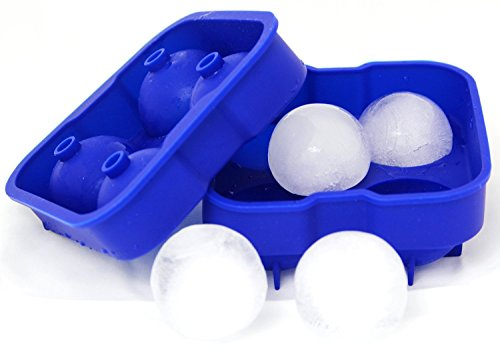 IBeaty Ice Ball Maker Mold 4.5cm Spheres Essential - Set of 4 Blue Silicone Round Ice Ball Sphere Maker Molds Fit to Bar Hotel Restaurant Home (Ice Ball Maker Mold Icy Cool compare prices)