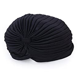 Imported Black Polyester Pleated Turban Head Wrap Headwrap Cap Twist Hat