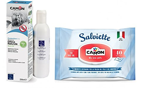 Camon Shampoo cani difesa natureale Olio di Neem & salviette ea tree oil per cani