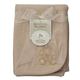 American Baby Company Organic Embroidered Receiving Blanket, Mocha