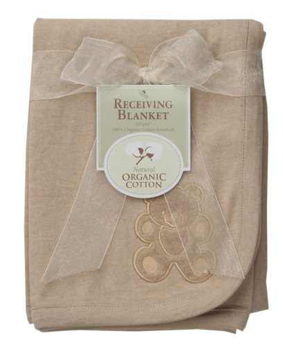 American Baby Company Organic Embroidered Receiving Blanket-Mocha