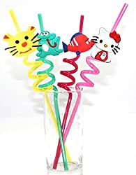 Generic Set of 4 Fun Curly PVC Drinking Reusable Straws - For Birthday, Party (Variable Fruit or Cartoon Shapes as Per Availability)