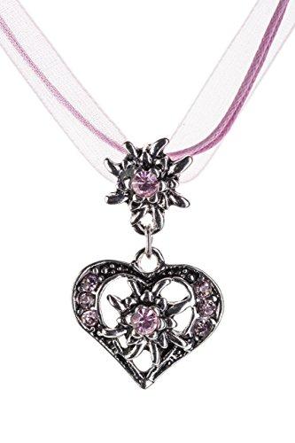 Trachtenkette elegantes Herz mit Strass und Edelweiss Anhänger Trachtenschmuck Kette für Dirndl und Lederhose Damen in vielen Farben (Rosa) thumbnail
