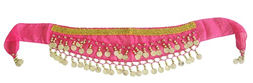 AvaCostume Kids Belly Dance Chiffon Gold Coins Triangle Hip Scarf