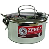 Zebra 152314 Stainless Steel Food Box And Pan With Snap On Lid, 14cm, Silver
