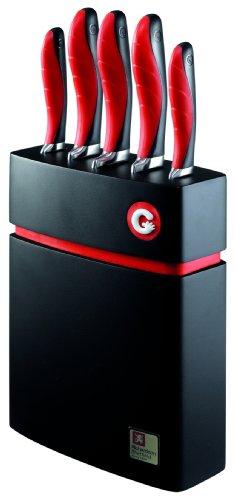 Richardson Sheffield 5-Piece Gripi Knife Set With Wood Block, Red