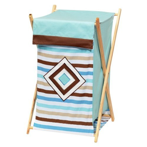 Bacati Diamonds and Stripes Aqua and Chocolate Hamper - 1