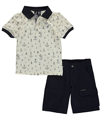 "Nautica Little Boys' ""Anchors Everywhere"" 2-Piece Outfit - sail cream, 7x"