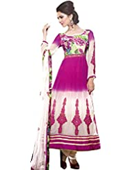 Exotic India Cloud-Cream And Pink Anarkali Suit With Embroidered Patches - White
