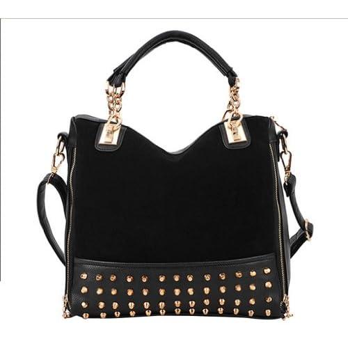 niceeshop(TM) Fashion Women Hobo Top Double Handle Rivet Studded Handle Satchel Purses Medium Handbag-Black