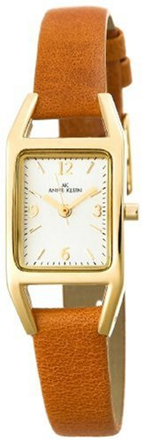 AK Anne Klein Women's 107436SVHY Casual Gold-Tone Watch with a Brown Leather Strap