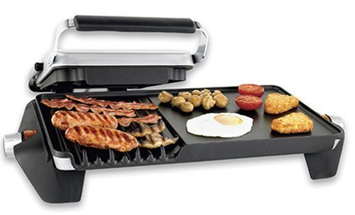 George Foreman 13589 4-Portion Family Grill and Griddle in Silver - Grill and Fry/Cook at Once