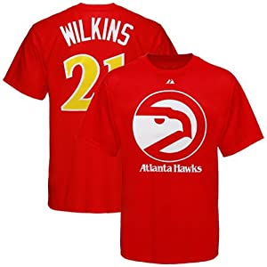 Majestic Atlanta Hawks #21 Dominique Wilkins Red Retired Player Throwback T-shirt by Majestic