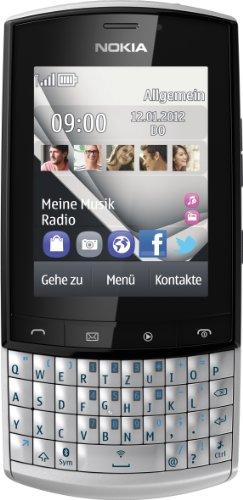Nokia Asha 303 Smartphone (6,1 cm (2,4 Zoll) Display, Touchscreen, 3.2 Megapixel Kamera, HSDPA, QWERTZ-Tastatur) silberweiß