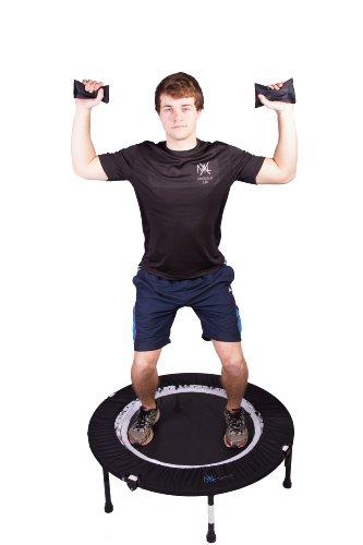 MaXimus Pro Falt Rebounder Mini-Trampolin inkl. Tragetasche, Workout-DVD (in Englisch), Haltestange, Expander und Sandgewichten -