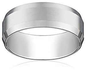 Men's 14k White Gold 8mm Comfort Fit Plain Wedding Band with Bevel Edge and Brushed Finish Center Size 9