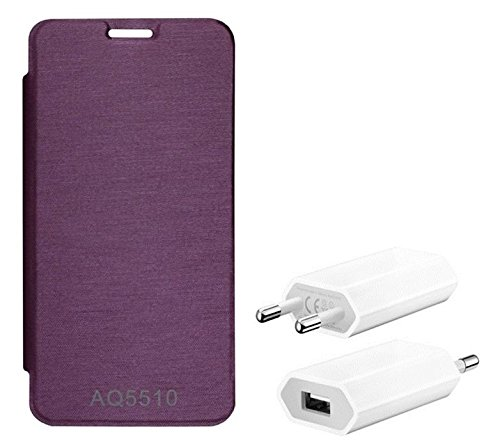Chevron Flip Cover With Mobile Wall Charger for Micromax Yu Yureka AO5510 (Purple)