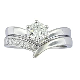 Platinum Overlay Sterling Silver Cubic Zirconia Round Solitaire Ring w/ Chevron Band Bridal Set