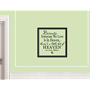 #!Cheap BECAUSE SOMEONE WE LOVE IS IN HEAVEN THERE'S A LITTLE BIT OF HEAVEN IN OUR HOME Vinyl wall lettering stickers quotes and sayings home art decor decal