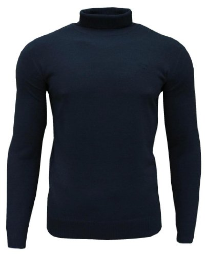 Soul Star Dagenham Men's Roll Neck Fashion Casual Jumper Top Navy Large