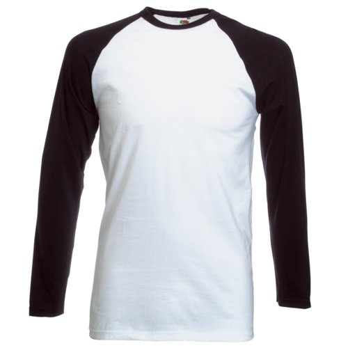 Long Sleeve Fruit of the Loom Baseball T-Shirt - White / Black Medium