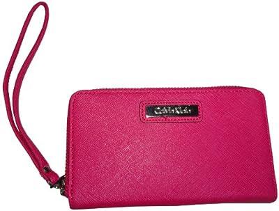 Calvin Klein Zip Around Saffiano Leather Wristlet Wallet Punch Pink