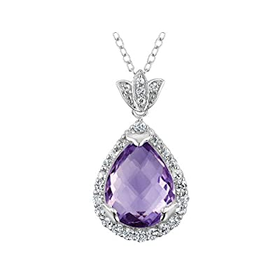 Large Amethyst Tear Drop Pendant Necklace 10 Carat (ctw) in Sterling Silver with Chain sale off 2015