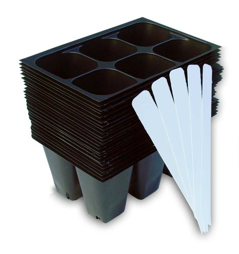 Seedling Starter Trays, 144 Cells: (24 Trays; 6-cells Per Tray), Plus 5 Plant Labels