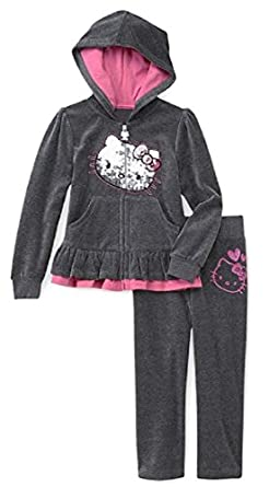 Hello Kitty Little Girl's Velour Zip-up Hoodie & Pants Set