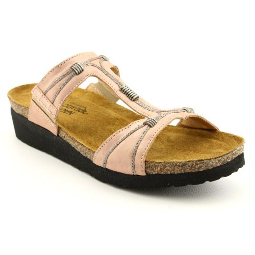 Naot Dana Womens Size 8 Pink Nude Open Toe Leather Slides Sandals Shoes EU 39
