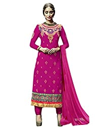 Craftliva Pink Embroidery Georgette Straight Suit