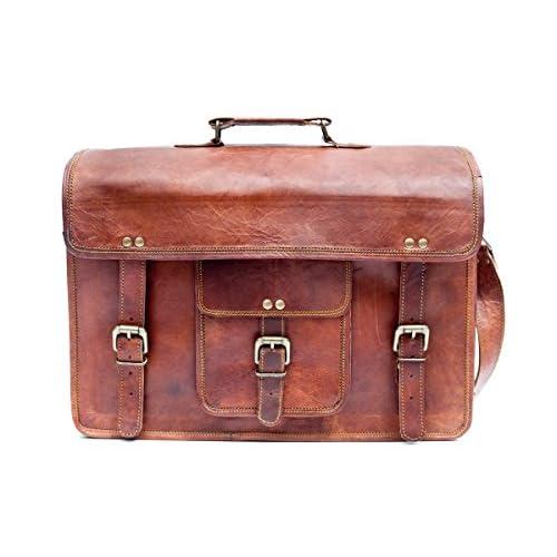 Urban Safari London Unisex Handmade Real Leather Satchel Laptop Bag 16 Tan Brown Oxford Satchel