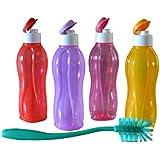 Tupperware Aquasafe Fliptop Bottle (1Litre) - Set Of 4 & 1 Bottle Cleaning Brush