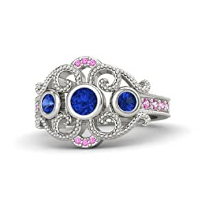 buy atjewels 14k white gold on 925 silver blue and pink