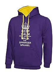 Keep Calm And Walk The Springer Spaniel Purple & Yellow Contrast Hoody