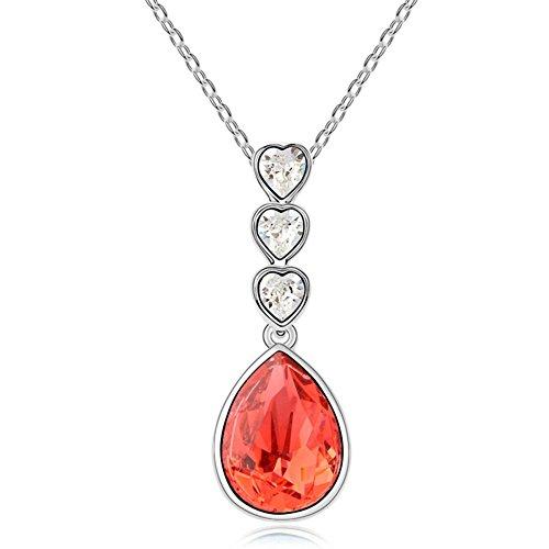 TAOTAOHAS elementi di swarovski cristallo ciondoli breve collane [ la vita come una canzone, Padparadscha ], 18KGP