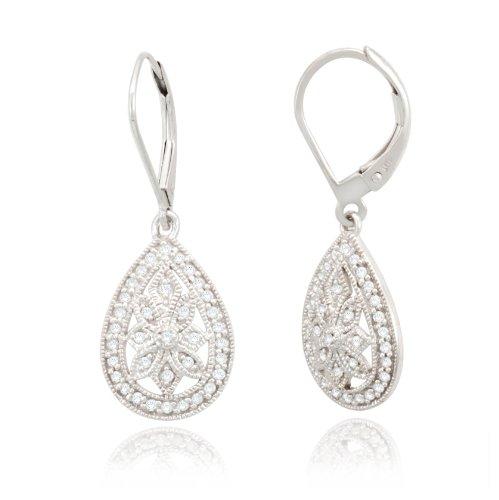 10k White Gold Filigree Teardrop Diamond Earrings 1 4 cttw I J