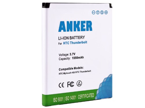 Anker® 1550mAh Li-ion Battery For HTC ThunderBolt 4G, HTC MyTouch 4G; Fits PD42100 - White